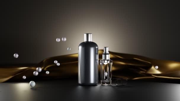 Falešná luxusní kosmetika pro muže na zlatém plátně s perlami, koncept s černou lahví a skleněným parfémem. Šampon, krém ve sklenici, olejový sprej nebo vousové sérum na tmavém pozadí, prázdný design balení