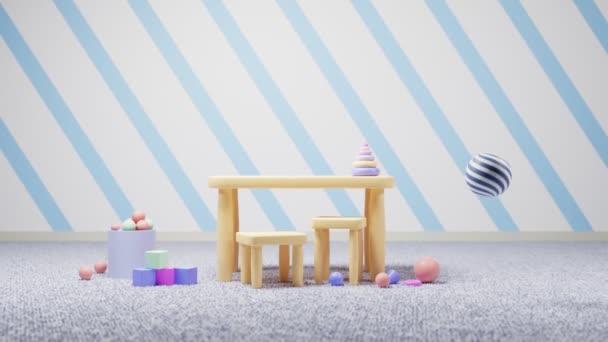Kreslená školka nebo mateřská škola, montessori pro děti, základní vzdělání, předškolní učebna s nábytkem, hračkami a kobercem, moderní vnitřní herna pro výuku a výchovu dětí.