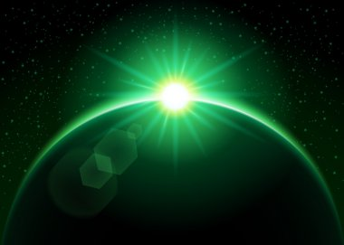 Rising sun behind the planet - green vector illustration