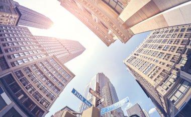 Vintage stylized fisheye lens photo of Manhattan.