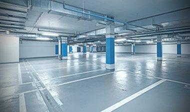 Cross processed photo of underground parking.