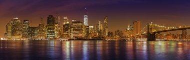 Manhattan skyline at night, New York City panoramic picture, USA
