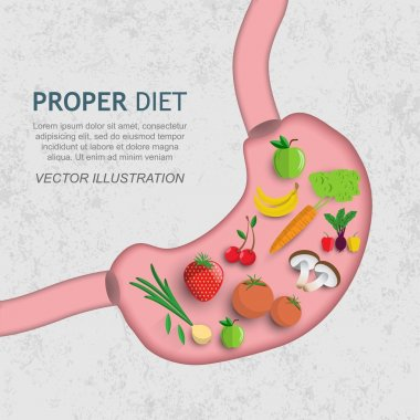 Vegetables and fruits in the stomach, nutrition clipart