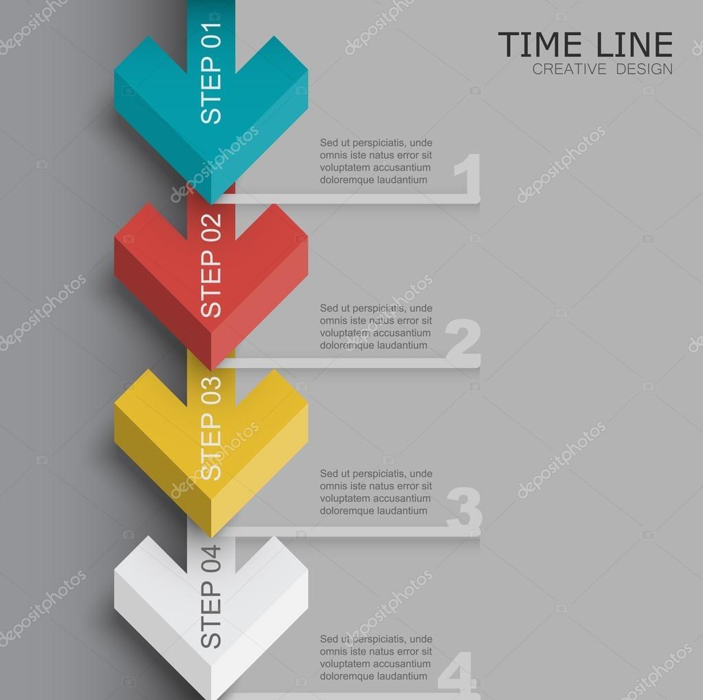 plantilla de línea de tiempo de flecha 3D — Vector de stock ...