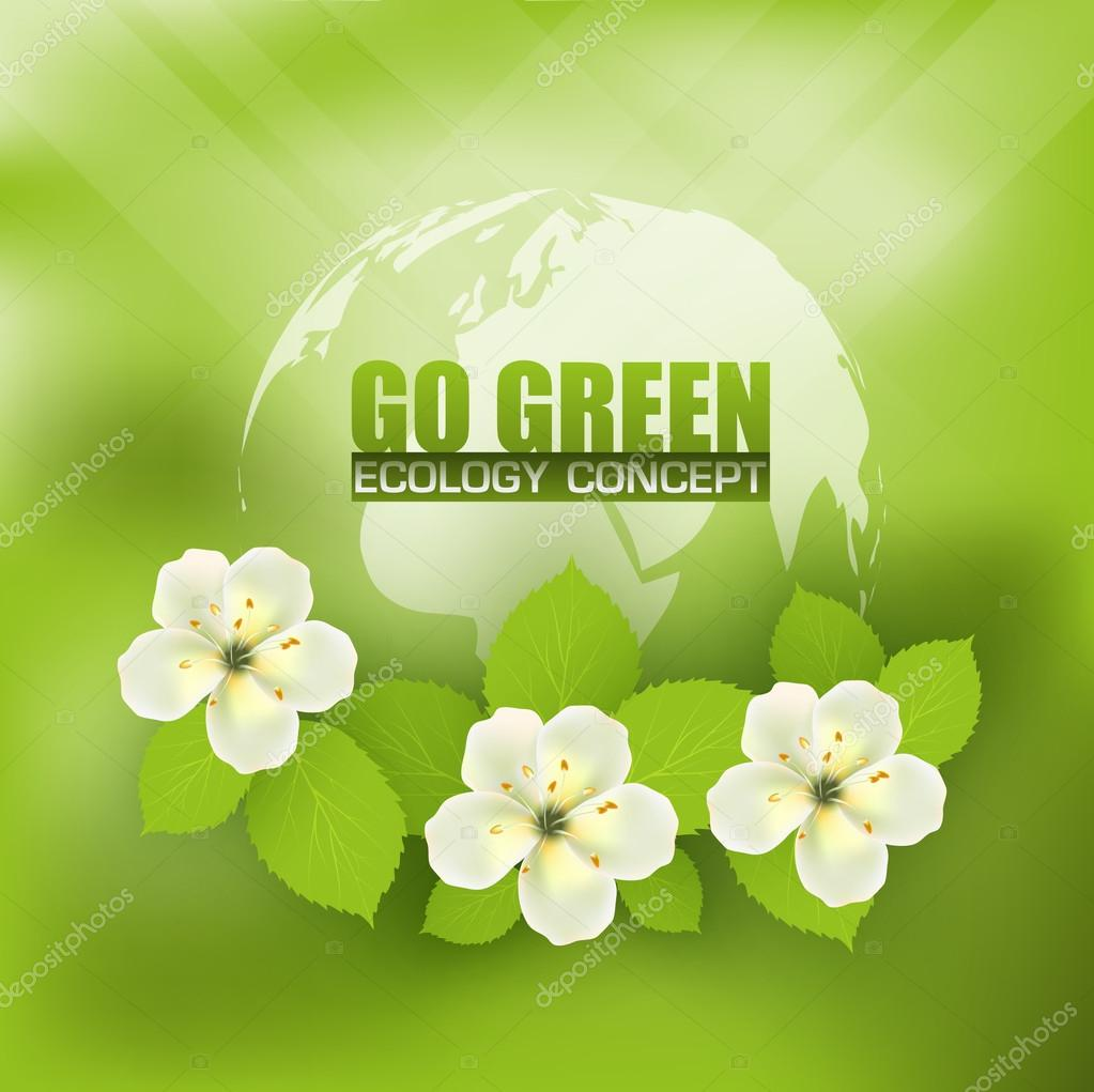 Flower Concept Map.Eco Concept With World Map And A Composition Of Flowers Stock