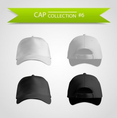 Black and white baseball cap template collection
