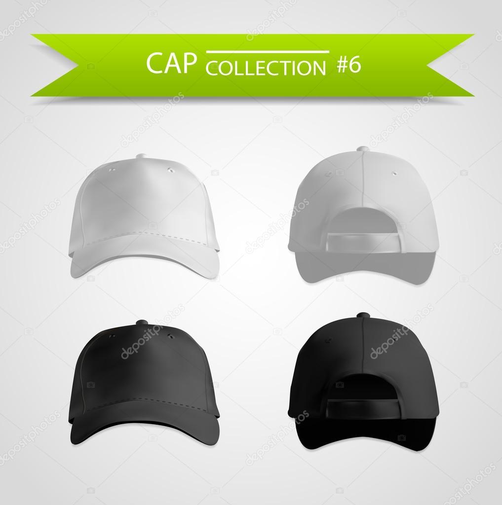 黒と白の野球キャップ テンプレート コレクション ストックベクター