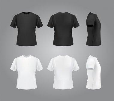 T-shirt mockup set, front, side, back view.