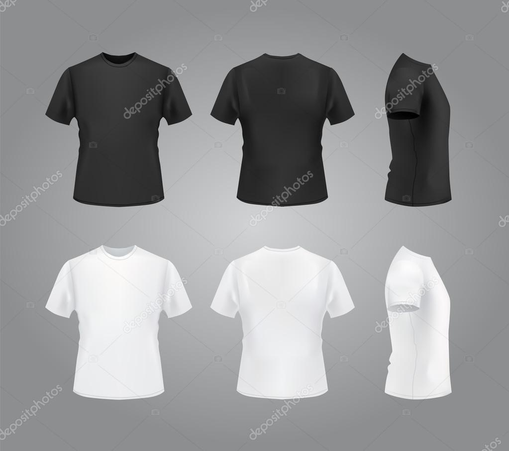 Black t shirt mock up - T Shirt Mockup Set Front Side Back View Blank Templates For Your Use Vector Eps10 Illustration Vector By Kir