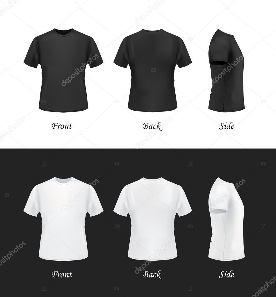 T-Shirt Modell Satz, vorne, Seite, Rückansicht — Stockvektor © Kir ...