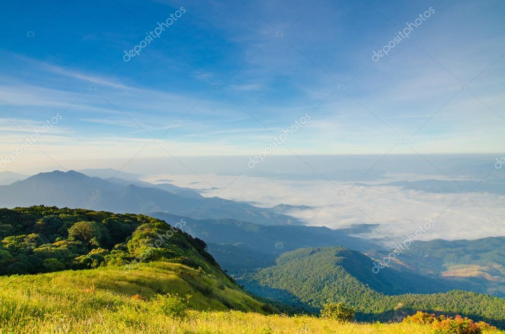 Фотообои The hills in the fog. Morning landscape