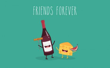 Bottle of wine with a corkscrew and cheese  friend forever. Vector illustration. Funny food. clip art vector