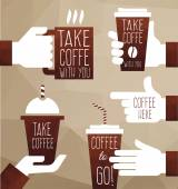 Fotografie graphics take coffee to go.