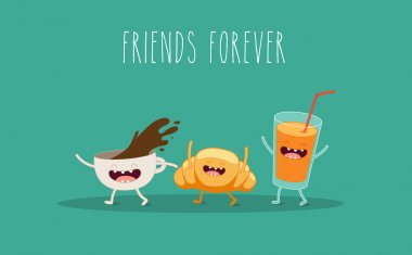 Coffee, croissant and juice. Breakfast. Vector cartoon. Friends forever. comic characters. clip art vector