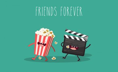 Movie clapper and popcorn in box. Vector cartoon. Movies, cinema. Vector cartoon. fast food. Friends forever. stock vector