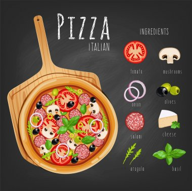 Pizza on the board and  ingredients