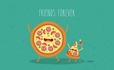 Pizza slice. Fastfood. Vector cartoon. Friends forever. Comic characters. clip art vector