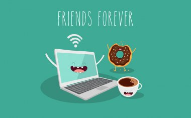 Laptop, coffee and donut illustration. Vector cartoon. Friends forever. Comic characters. clip art vector