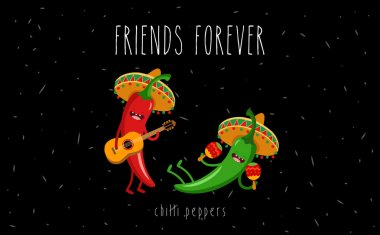 Red and green chilli peppers in  sombrero