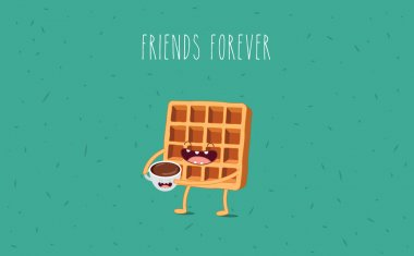 Coffee and waffle. Vector cartoon. Friends forever. Comic characters. clip art vector