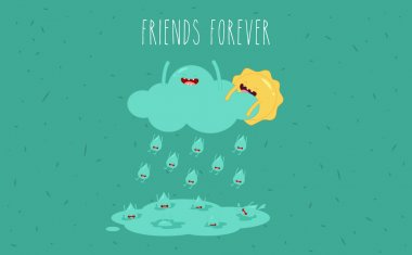 Sun and rain. Vector cartoon. Friends forever. comic characters. clip art vector