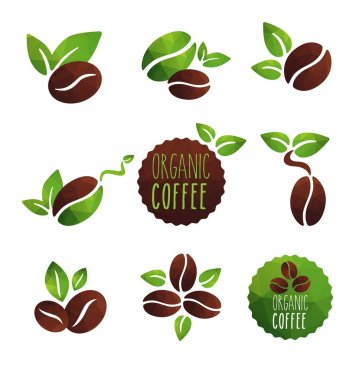 Set of coffee beans  icons