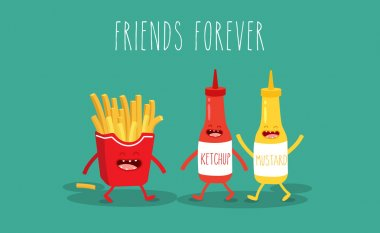 Vector cartoon. fast food. Friends forever. French fries, mustard and ketchup. stock vector