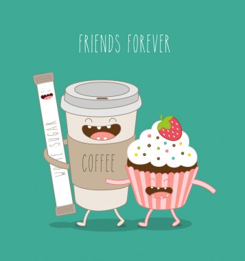 Vector illustration of comic characters coffee sugar sticks and airy cake with strawberries friends forever clip art vector
