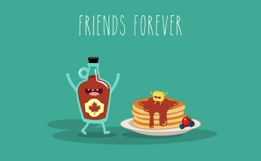 Vector cartoon. Breakfast. Friends forever. Maple syrup and pancake clip art vector