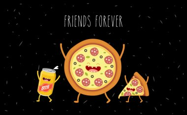 Pizza and beer. Fastfood. Vector cartoon. Friends forever. Comic characters clip art vector