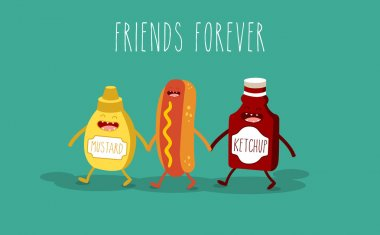 Vector cartoon. fast food. Friends forever. Hot dog, mustard and ketchup. clip art vector