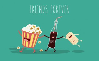 Popcorn, movie ticket, cola,  cinema