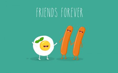 Breakfast egg and sausages. Vector cartoon. Friends forever. Comic characters. clip art vector