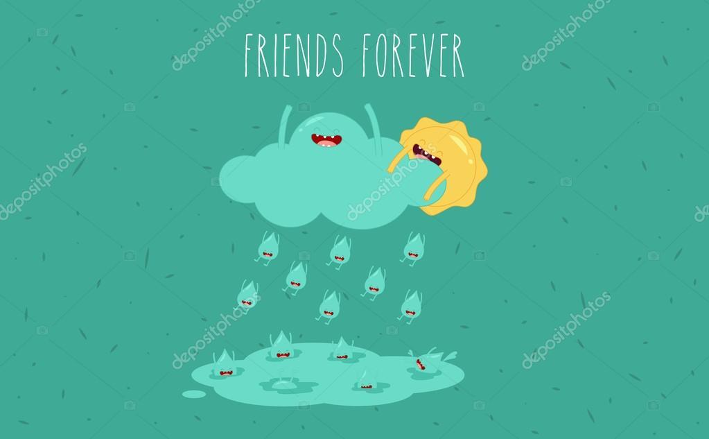 Sun and rain cartoon.