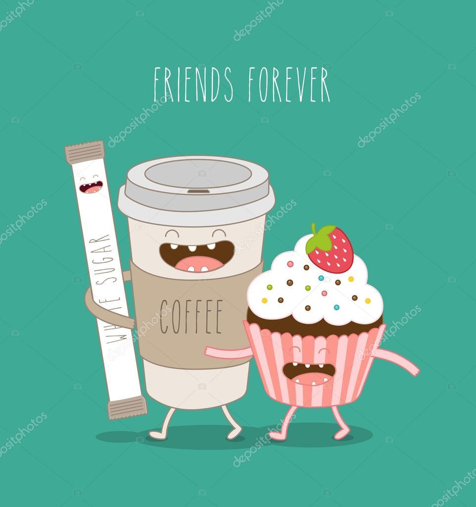 Kaffee Zucker Sticks Und Luftigen Kuchen Stockvektor