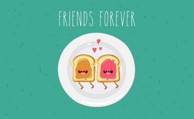 Peanut butter and jam. Friends forever. Comic cartoon characters. clip art vector