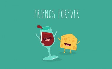 Glass of wine and cheese illustration. Friends forever. Comic characters. clip art vector