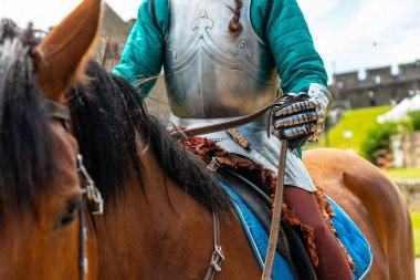 Horse and medieval armor in the castle of Fougeres. Brittany region, Ille et Vilaine department, France