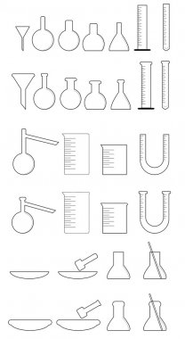 Various glass equipment chemical laboratory in white clip art vector