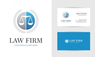 Blue law logo with scales
