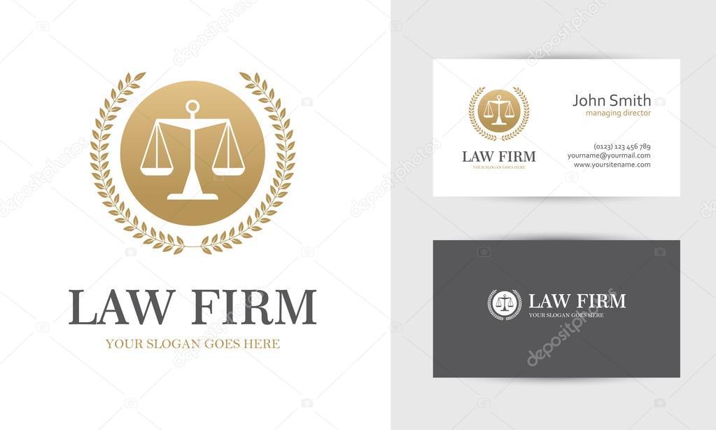 Logo De Droit Avec Echelles Et Couronne En Or Couleurs Modeles Conception Carte Visite Pour Entreprise Avocat Ou Procureur Du Cabinet
