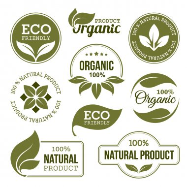 Set of green labels and badges with leaves for organic, natural, bio and eco friendly products isolated on white background stock vector
