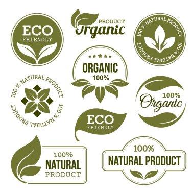 """Картина, постер, плакат, фотообои """"зеленые органические продукты этикетки """", артикул 71440375"""