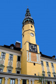 Town hall tower in the Old Town of Bautzen in the Saxon Upper Lusatia - Germany.