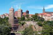 Old Town of Bautzen in Saxony with Old Waterworks, Church of Saint Michael, Saint Peters Cathedral and Town hall tower - Germany.