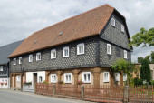 Half-timbered house in the traditional architectural style of Upper Lusatia in the municipality of Obercunnersdorf in East Saxony - Germany.