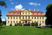 Baroque castle Rammenau with Fichte-Museum near Bischofswerda in the Upper Lusatia - Germany.