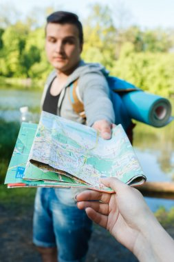 travelers looking for a way across the map, hiking