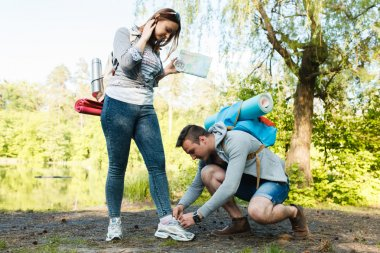 couple goes hiking, forest, recreation, mutual aid