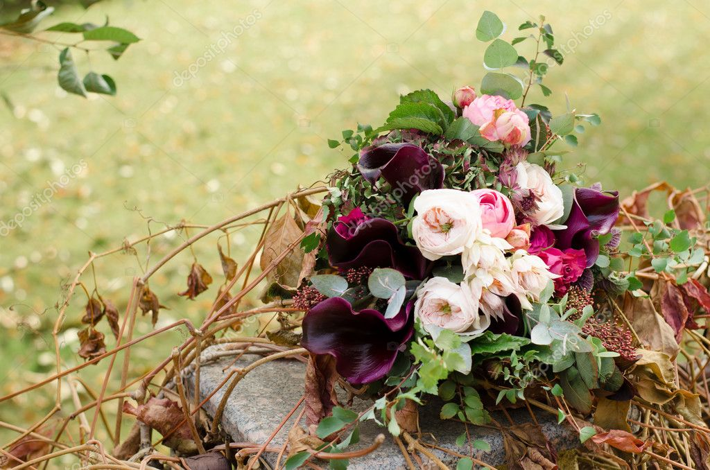 Beautiful Wedding Boho Bouquet Of Red And Pink Flowers And Green Stock Photo C Olgamaer 88013706